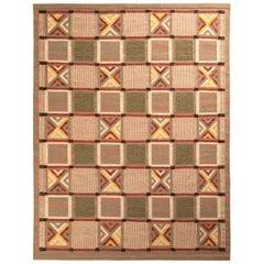 Rug & Kilim's Scandinavian Style Kilim Rug in Green and Beige Geometric Pattern
