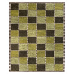 Rug & Kilim's Scandinavian Style Kilim Rug in Green Geometric Pattern