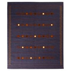 Rug & Kilim's Scandinavian Style Kilim Rug in Purple and Brown Geometric Pattern