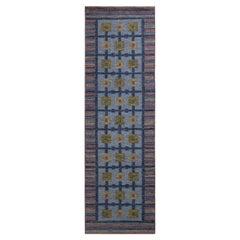 Rug & Kilim's Scandinavian Style Kilim Runner, Blue and Green Geometric Pattern