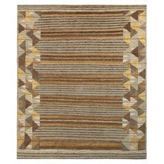 Rug & Kilim's Scandinavian Style Rug, High-Low Beige-Brown Geometric Pattern