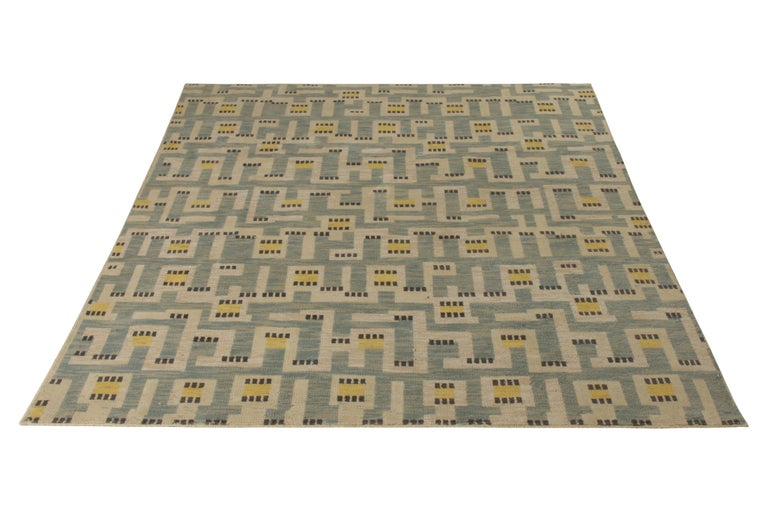 Hand knotted in texturally soft, inviting wool pile, this modern 8 x 10 rug hails from the latest pile additions to Rug & Kilim's Scandinavian collection, a celebration of Swedish modernism with new large scale geometry and exciting vintage