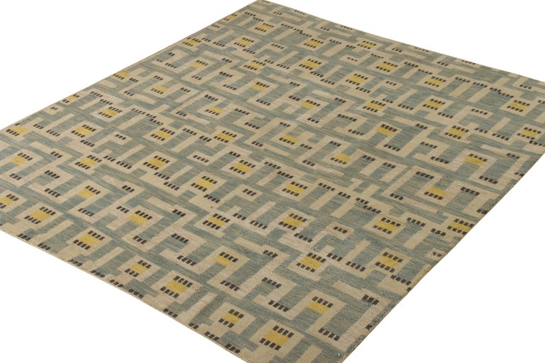 Scandinavian Modern Rug & Kilim's Scandinavian Style Rug in Blue and Beige Geometric Pattern For Sale