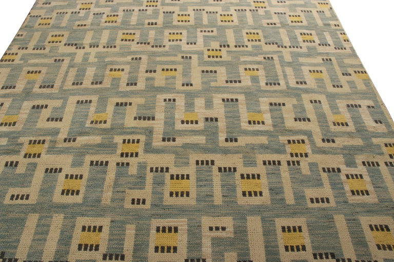 Indian Rug & Kilim's Scandinavian Style Rug in Blue and Beige Geometric Pattern For Sale