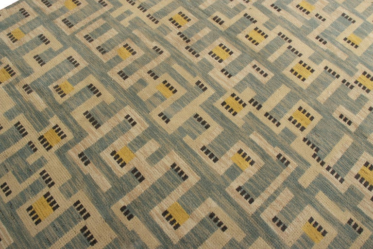 Hand-Knotted Rug & Kilim's Scandinavian Style Rug in Blue and Beige Geometric Pattern For Sale