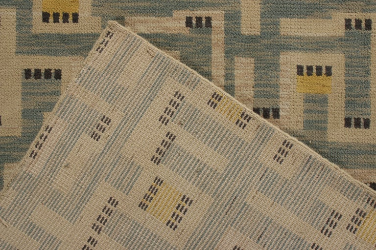 Rug & Kilim's Scandinavian Style Rug in Blue and Beige Geometric Pattern In New Condition For Sale In Long Island City, NY