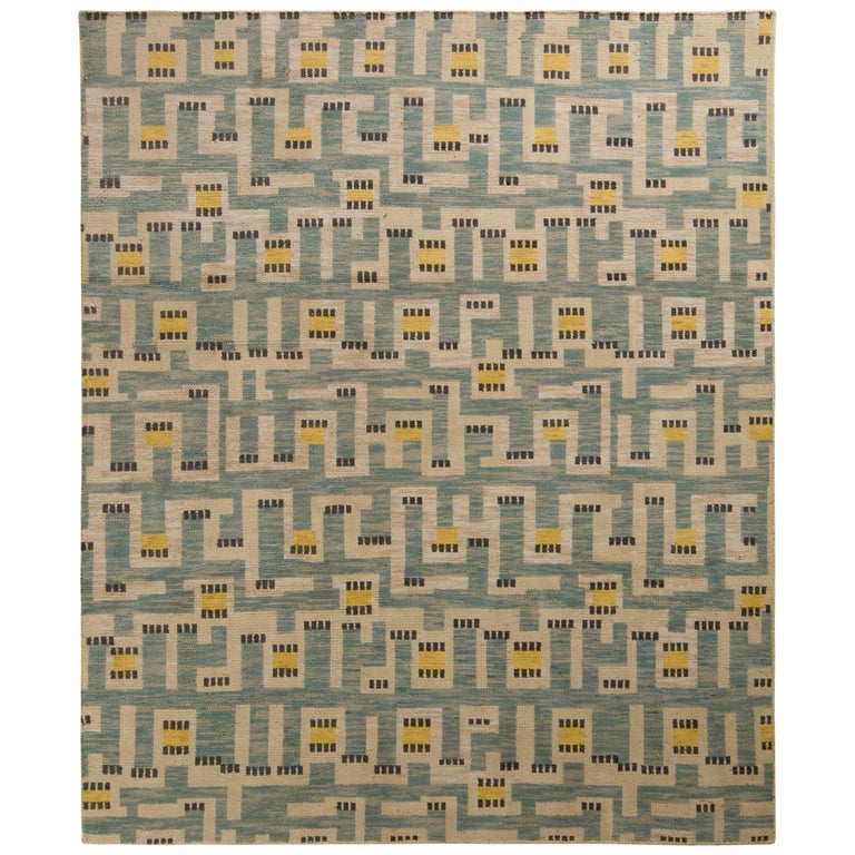 Rug & Kilim's Scandinavian Style Rug in Blue and Beige Geometric Pattern For Sale