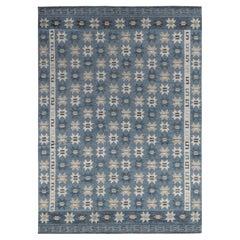 Rug & Kilim's Scandinavian Style rug in Blue, Gray Geometric Pattern