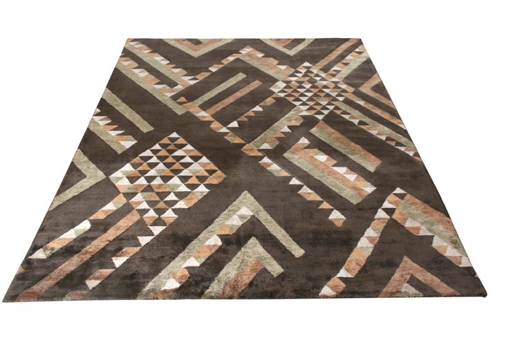 A unique 6 x 9 addition to the pile selections in Rug & Kilim's award-winning Scandinavian collection, a celebration of Swedish modernism with new large scale geometry and exciting vintage colorways like that of their mid-century inspirations.