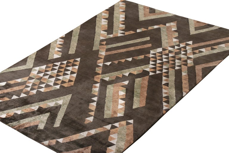 Scandinavian Modern Rug & Kilim's Scandinavian Style Rug in Brown Geometric Pattern For Sale