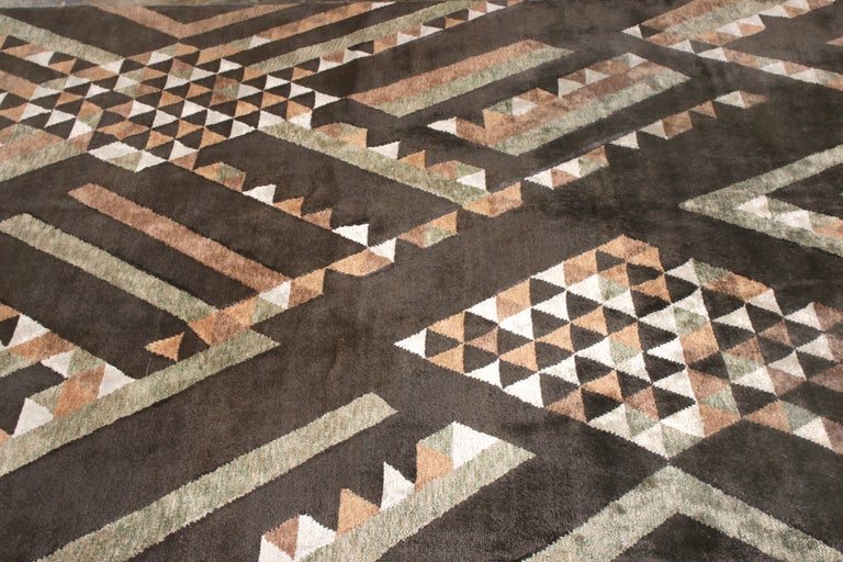 Indian Rug & Kilim's Scandinavian Style Rug in Brown Geometric Pattern For Sale