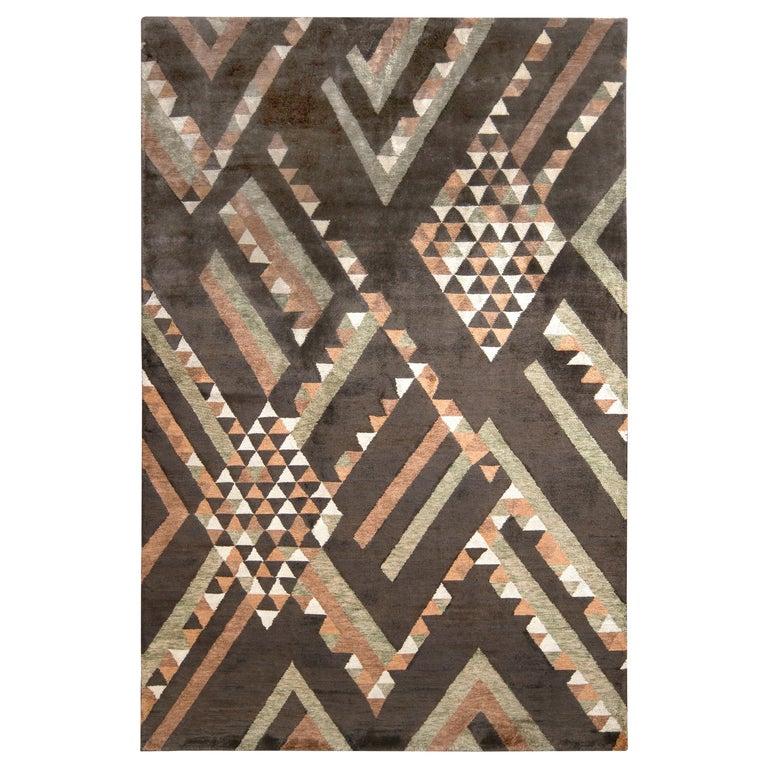 Rug & Kilim's Scandinavian Style Rug in Brown Geometric Pattern For Sale