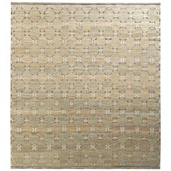 Rug & Kilim's Scandinavian Style Rug in Green and Beige Brown Trellis Pattern