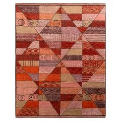 Rug & Kilim's Scandinavian Style Rug in Orange Red and Pink Geometric Pattern