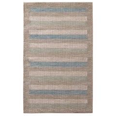 Rug & Kilim's Scandinavian Style Striped Beige-Brown Green and Blue Wool Kilim
