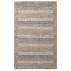 Rug & Kilim's Scandinavian Style Striped Beige-Brown Green and Blue Wool Kilim