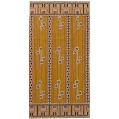 Rug & Kilim's Scandinavian Style Striped Yellow and Black Wool Kilim Runner