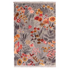 Rug & Kilim's Seirafian Style Rug in Gray and Red Floral Pattern