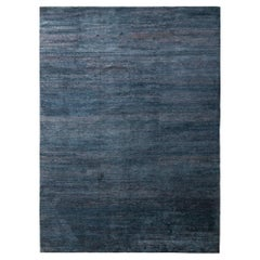 Rug & Kilim's Textural Plain Modern Rug in Blue Two Tones