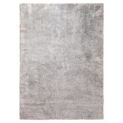 Rug & Kilim's Textural Plain Rug in Gray/Silver Two Tones, High Pile