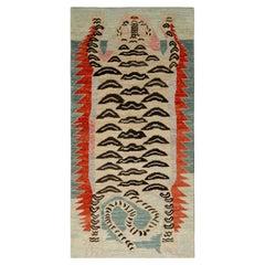 Rug & Kilim's Tibetan Style Tiger Rug in Beige Brown Pictorial Pattern