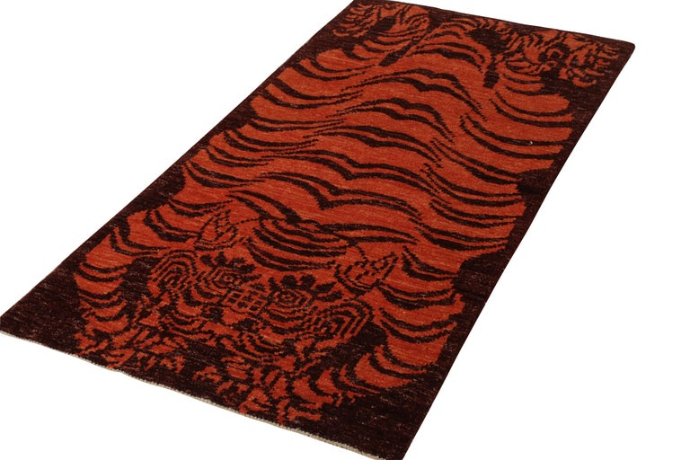 Modern Rug & Kilim's Tibetan Style Tiger Rug in Orange and Burgundy All Over Pattern For Sale