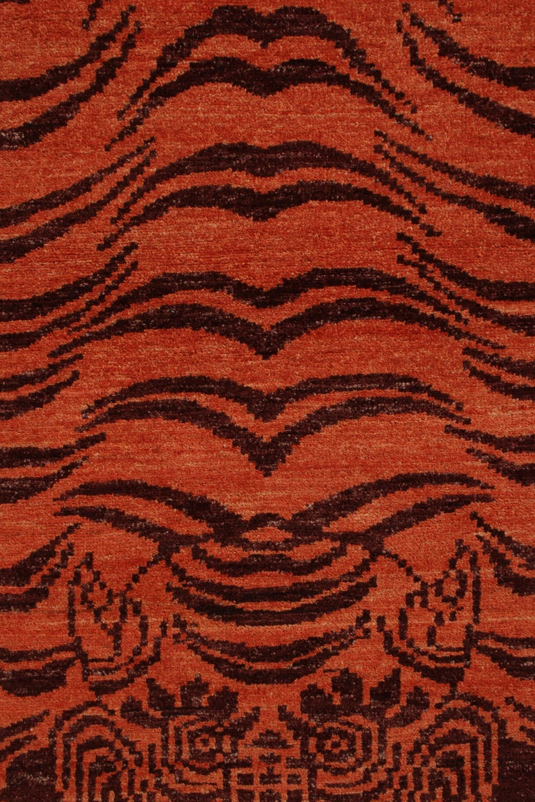 Afghan Rug & Kilim's Tibetan Style Tiger Rug in Orange and Burgundy All Over Pattern For Sale