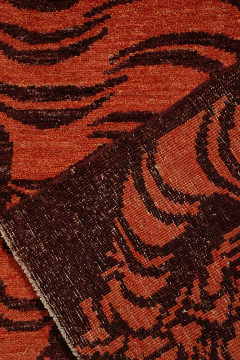 Hand-Knotted Rug & Kilim's Tibetan Style Tiger Rug in Orange and Burgundy All Over Pattern For Sale