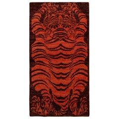 Rug & Kilim's Tibetan Style Tiger Rug in Orange and Burgundy All Over Pattern