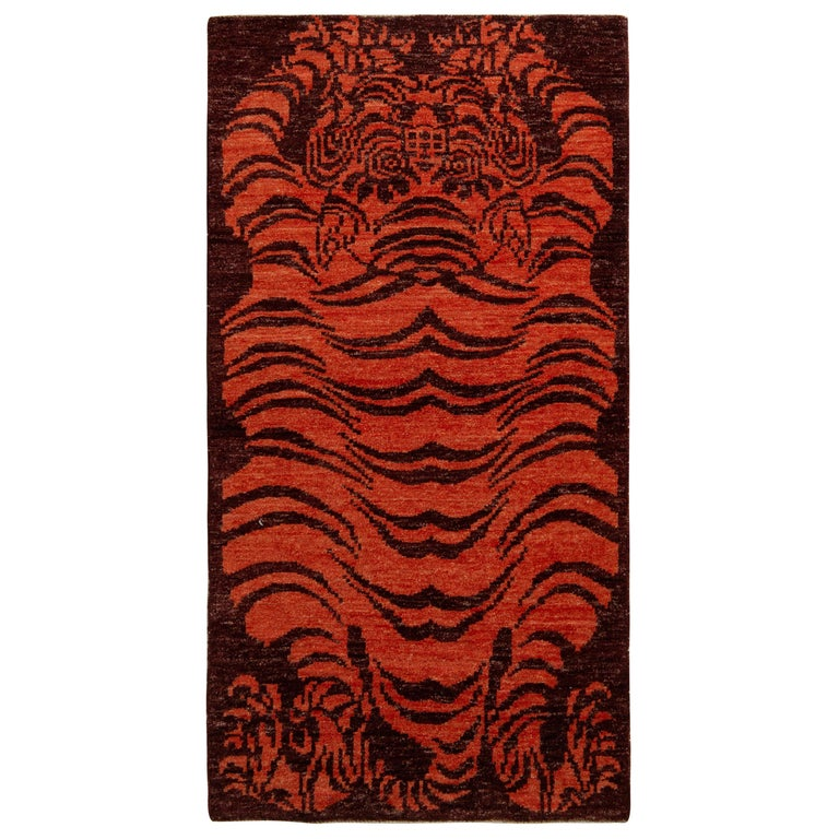 Rug & Kilim's Tibetan Style Tiger Rug in Orange and Burgundy All Over Pattern For Sale
