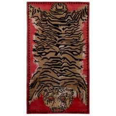 Rug & Kilim's Tiger Pictorial Red Orange and Black Wool and Silk Rug