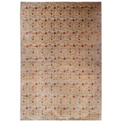 Rug & Kilim's Transitional European Style Rug in Gold and Green All-Over Floral