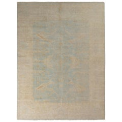 Rug & Kilim's Transitional Oushak Style Rug in Beige and Blue Floral Pattern