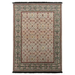 Rug & Kilim's Transitional Style Rug in Green and Blue All Over Floral Pattern