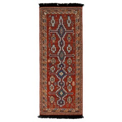 Rug & Kilim's Tribal Style Runner in Red and Blue Geometric Pattern