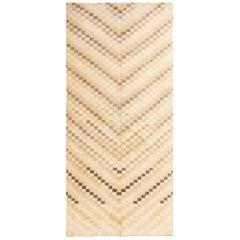 Vintage Midcentury Style Rug in Beige and Gray Geometric Pattern
