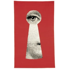 Contemporary Fornasetti Carpet Rug Lock Keyhole Silk Wool Red Black White Lady