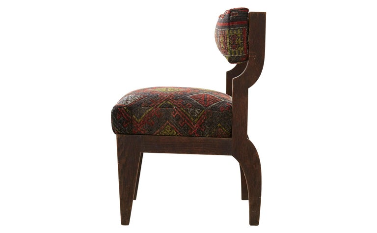 American Rug Upholstered Wooden Side Chair For Sale