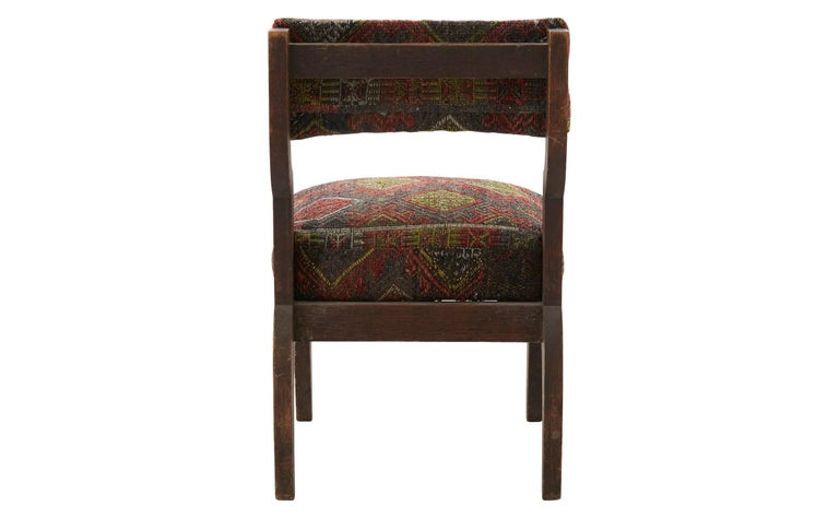 Hand-Woven Rug Upholstered Wooden Side Chair For Sale