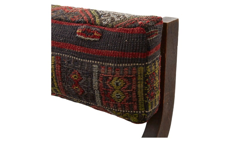 Rug Upholstered Wooden Side Chair In Good Condition For Sale In Chicago, IL