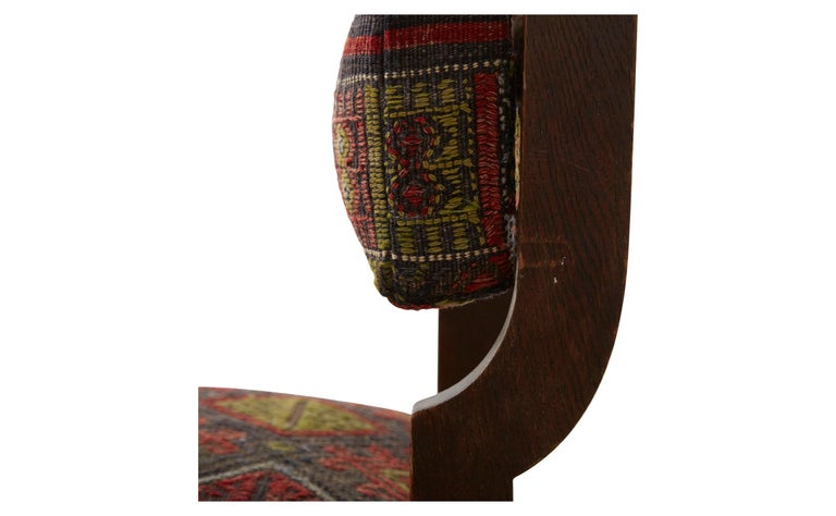 20th Century Rug Upholstered Wooden Side Chair For Sale