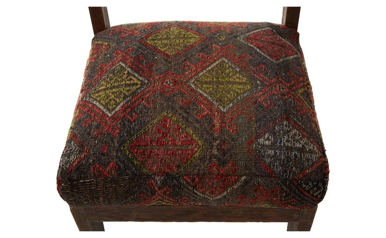 Wool Rug Upholstered Wooden Side Chair For Sale