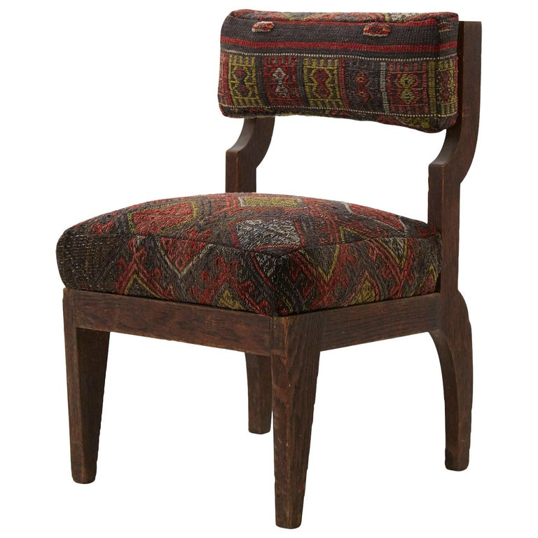 Rug Upholstered Wooden Side Chair For Sale