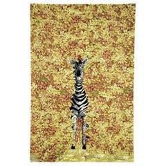 Contemporary by Fornasetti Carpet Rug Zebra Wool Silk Yellow Black White Small