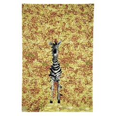 Contemporary by Fornasetti Carpet Rug Zebra Wool Silk Yellow Black White Large
