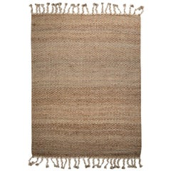 Rugged Hemp with Luxe Cotton Customizable River Weave Rug in White Extra Large