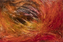 Dies Irae (Day of Wrath) - Abstract Gestural Oil Painting with Red and Orange