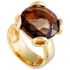 Rugiada 18 Karat Yellow Gold Smoky Round Topaz Ring