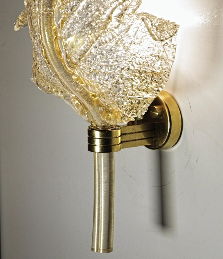 Barovier & Toso, Pair of Sconces Gold leaf, Rugiadoso Murano Glass, rigadin stem For Sale 3