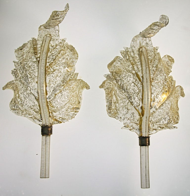Barovier & Toso, Pair of Sconces Gold leaf, Rugiadoso Murano Glass, rigadin stem For Sale 6